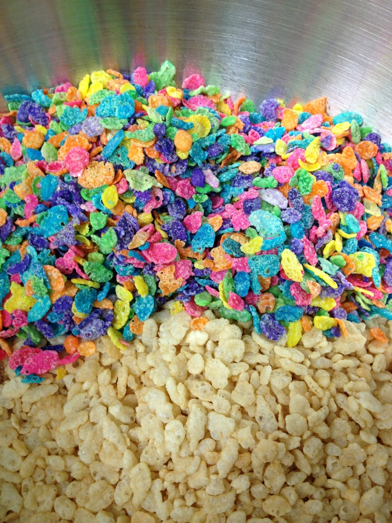 Mix together 4 cups of Rice Krispies and 2 cups of Fruity Pebbles.